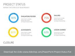 Project Status Flat Update Template Ppt Review Slide Rightarrow