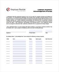 company property acknowledgement form acknowledgement receipt templates 9 free word pdf format