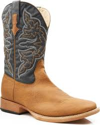 zoomed image roper men s faux leather cowboy boots square toe tan hi res