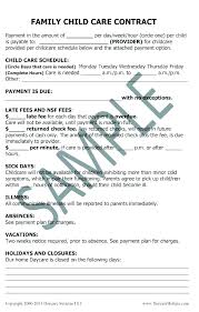 Daycare Contract Template Child Contract Template Andeshouse Co