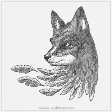 Drawn Wolf Hand Drawn Wolf With Leaves Vector Premium Download