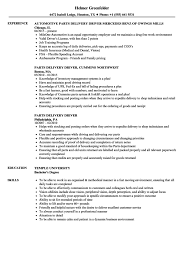 Cover Letter Parts Delivery Driver Resume Samples Velvet Jobs