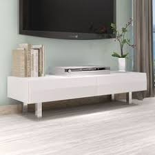 DESIGN HIGH GLOSS WHITE TV UNIT, TV STAND WITH 2 DRAWERS CHROME LEGS LIVING  ROOM