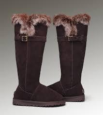 ... UGG Fox Fur Tall 1852 Chocolate Boots ...