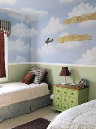 Kids Room: Shared Kids Bedroom Ideas With Cloudy Wallpaper - Kids Bedroom