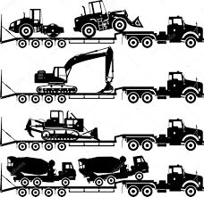 シルエット自動車輸送と建設重機のマシンの別の位置に白い背景で隔離の