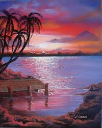 beach painting beach sunset by sherry winkler