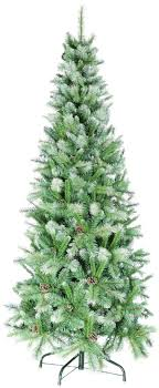 UK-G 7ft 2.1m Snow White and Green Slim Artificial Christmas Tree With  Frosted