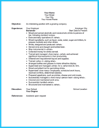 Resume Examples For Bartender Server Bartendending Example And