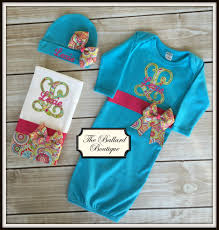 personalized turquoise baby gown set turquoise take home outfit monogrammed take home outfit