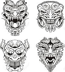 1165x1300 16729496 aztec monster totem masks stock vector maya 1165