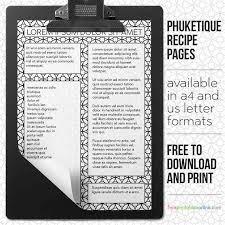 Personalized Printable Phuketique Recipe Pages Free Printables Online