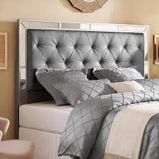 special full size fabric headboard silver queen upholstered tufted mirrored