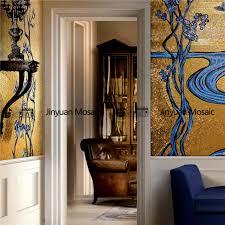 jy15 p35 golden glass mosaic flower pattern mural luxurious living room wall tile 6