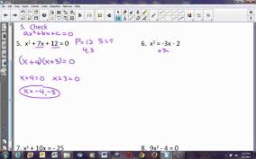 algebra lesson 10 4 part 1 factoring to solve quadratic equations