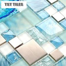 2018 modern 11sheetsblue sea glass kitchen tiles bathroom mirror tile backsplash silver stainless steel fireplace deco mesh from kingstory