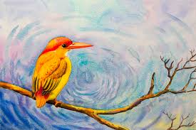 painting colorful of alone yellow bird on a branch stock ilration ilration of beautiful