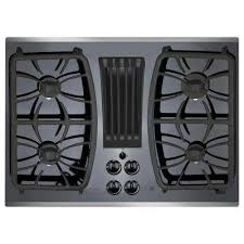 gas on glass downdraft gas cooktop in stainless steel with