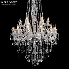 galaxy long crystal chandelier light fixture 18 lights clear large hotel crystal light res prompt md2456