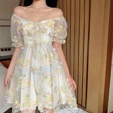 French Floral Dress Women <b>Sexy Puff Sleeve</b> Lace Chiffon Print ...