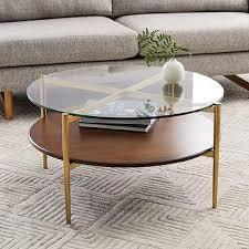 art display round walnut glass coffee table