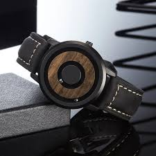 <b>EUTOUR</b> minimalist Novelty <b>Wood</b> Dial Scaleless <b>Magnetic</b> Watch ...