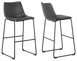 adan iron frame vintage gray faux leather bar stools set of 2
