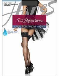 Hanes Thigh Highs Size Chart Details About Lace Top Thigh Highs Stockings Hanes Silk Reflections Womens Stretch Wicking