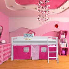 bunk bed with stairs for girls. Solid Wooden Cabin Bed Bunk For Kid Girls With Pink Tent Underneath Stairs