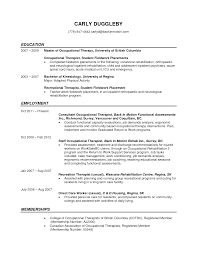 Resume Occupational Therapy Template Assistant Physiotherapist