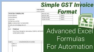 Ms Excel Invoice Simple Gst Invoice Format In Excel Download Hbn Infotech