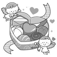 ハート型のチョコレートと天使のイラストモノクロ 子供と動物の