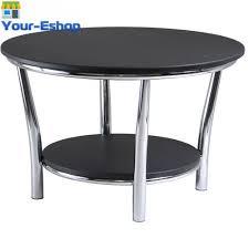 modern round coffee table black top w metal stainless steel legs ws 93230