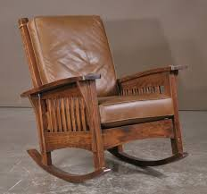 mission style rocker.  Mission Mission Style Rocking Wood Chair With Leather Cushion In Style Rocker K