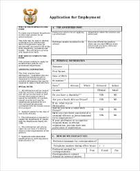 Sample Generic Application Forms For Employment 9 Free Documents