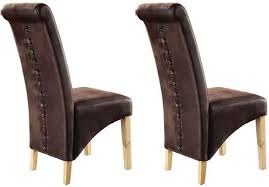 dining chairs online. TCS Downham Oak Dining Chair - Microfiber Brown (Pair) Chairs Online