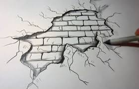 how to draw walls - brick wall with cracking plaster drawing