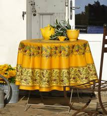olive design teflon coated round french tablecloth