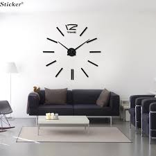 whole 3d mirror wall clock stickers acrylic big sticker home decoration mirror surface sticker decor decorative large wall clock digital wall