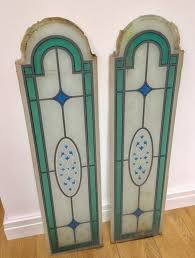 2 vintage stained glass door panels pub reclaimed salvage upcycle project