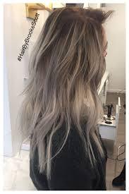 Balayage Dark Root Gray Hair With