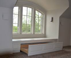 White Bay Window Seat With Storages Function And White Wall Paint  Decorating Also Frame Muntins Grey ...