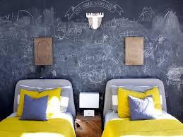 chalkboard wall chalk room yellow grey antler bed