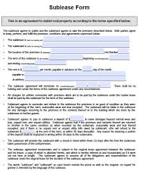 residential sublease agreement template. Free Sublease Form Sublet Agreement Template Free Residential
