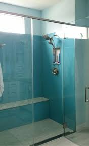 high gloss acrylic shower wall surround panels in a light blue color are simple to clean