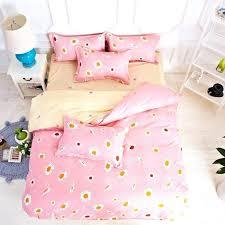 um image for flower rain pink yellow duvet cover set polyester fiber stripe bed sheet sets