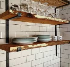 rustic wall mount shelf connect to metal shelf brackets and tile wall ceramics