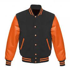 letterman baseball varsity jacket orange leather sleeve black wool