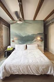 wooden beams in dark brown on a while ceiling in room with one brick say goodbye to boring bedroom walls with our cool decor