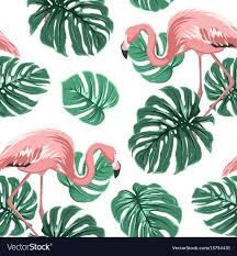 Bird Pattern Awesome Pink Flamingo Birds Green Monstera Leaves Pattern Vector Image